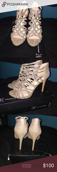 Formal gold/silver heels Size 8.5 worn once, also i found them very comfortable! INC International Concepts Shoes Heels