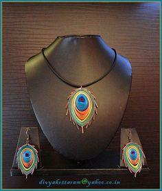 papel quilled joyas de pavo real