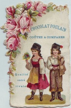 CHROMO CHOCOLAT POULAIN - FLOWER SPRAY BORDER - BOY AND GIRL IN A NATIONAL COSTUME, GIRL HOLDING BUNCH OF FLOWERS | par patrick.marks