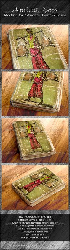 Ancient Book - Mockup for Artworks, Fonts & Logos