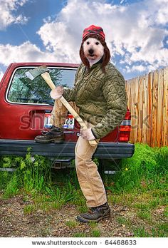 redneck dog with an axe in his hands.