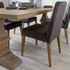 Shop our Grey Velvet Dining Chairs & dine in style. Soft Fabric Dining Chairs with stud detailing gives Modern Dining Chairs an elegant edge. Fabric Dining Chairs, Modern Dining Chairs, Upholstered Dining Chairs, Dining Room Furniture, Table And Chairs, Reclaimed Wood Dining Table, Free Uk, Delivery, Velvet