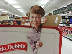 """9/10/13 - Creepy cardboard cut-out snack cake kid.  His eye follow you beckoning you towards diabetes or as Wilfred Brimley would say, """"The Diabetus""""."""