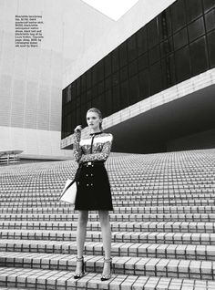 #LouisVuitton - Lace top with calfskin leather skirt