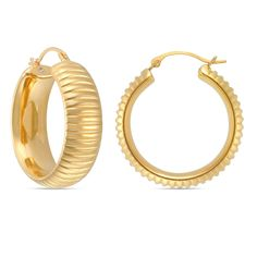 b3c65298aed Forever Last 14k Gold Round Ribbed Hoop Earring