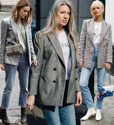 The Best Street Style Inspiration & More Details That Make the Difference Maxi Blazer, Blazer Outfits, Blazer Fashion, Casual Outfits, Only Blazer, Look Blazer, Check Blazer, Plaid Blazer, Street Style Trends
