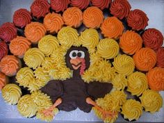 thanksgiving chocolate turkeys cupcakes | ... this turkey cupcake cake for a big group posted at Atomic Cupcakes