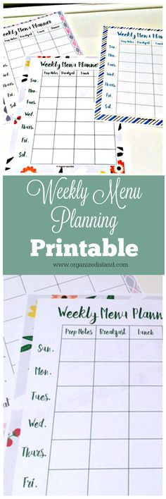 Free Weekly Menu Planning Template - Save money and time by planning your meals.