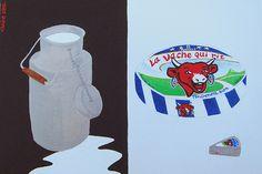 Food & Drink painting (why is she laughing?) / Food & Drink (pourquoi rit-elle?) - 22x33 cm (toile acrylique / Posca) ©Claire Pimenta de Miranda/Toilesurlatoile  https://www.facebook.com/photo.php?fbid=151929011491727=a.121728497845112.15874.121699184514710=3 www.toilesurlatoile.com #peinture #painting #toile #cheese #fromage #milk #lait #bidon #vachequirit #can