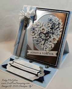 Pals Paper Crafting Card Ideas Always and Forever Mary Fish Stampin Pretty StampinUp Bloomin Love Stampin Up, Stampin Pretty, Wedding Cards Handmade, Handmade Birthday Cards, Handmade Cards, Side Step Card, Step Cards, Wedding Anniversary Cards, Heart Cards