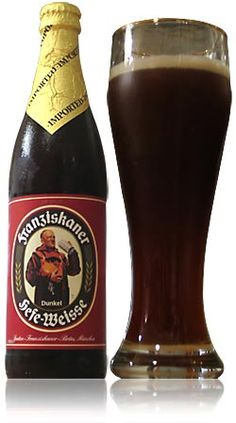 Franziskaner Hefe Weisse Dunkel -- Dark brown colour, frothy head, lasts long, no lacing. Aroma is white bread, dough, banana, figs, a bit of citrus. Light sweetness, slightly bitter and sour. Creamy texture, medium body, lively carbonation. Very good!