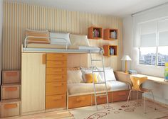 Shared Kids Room--Love the bunk beds with all of the built-in storage