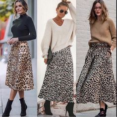 Discover recipes, home ideas, style inspiration and other ideas to try. Printed Skirt Outfit, Leopard Skirt Outfit, Leopard Print Outfits, Leopard Print Skirt, Animal Print Skirt, Printed Skirts, Leopard Fashion, White Fashion, Winter Fashion Outfits