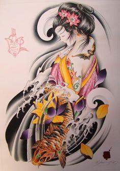 tattoos.photos images gallery attractive_geisha_and_carp_fish_japanese.jpg