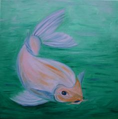 Pearl koi painting (over another painting) by Kathleen Scott