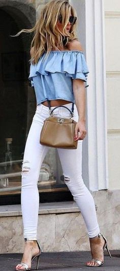 fashionable outfit idea / blue off shoulder top + nude bag + white skinnies + heels