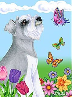 Schnauzer Grey Uncropped - Best of Breed Butterfly Garden Flag Schnauzer Art, Miniature Schnauzer, Cat Dog Cartoon, Puppy Crafts, Animals And Pets, Cute Animals, Dog Themed Parties, Bodo, Shih Tzu Dog