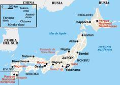 mapa de viaje a Japón por libre