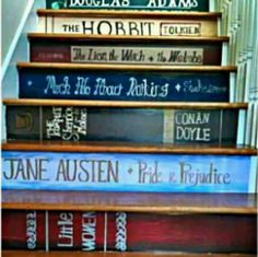 Painted Book Stairs in my house someday! I want a bookcase so bad near my staircase. Book Staircase, Staircase Design, Bookcase Stairs, Staircase Ideas, Staircase Painting, Bookshelves, Stair Design, Tree Bookshelf, Bookshelf Design