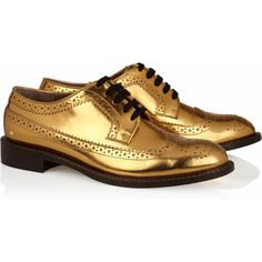 Marni Metallic leather brogues ($343) ❤ liked on Polyvore featuring shoes, oxfords, flats, gold, brogues, black lace up flats, flat shoes, lace up oxford flats, black leather flats and black leather oxfords