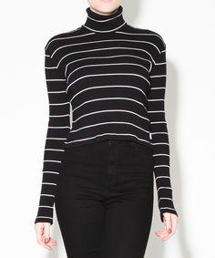 RIB TURTLE NECK BLACK STRIPE | Fashion Tops | Tops | Clothing | Shop Womens | General Pants Online