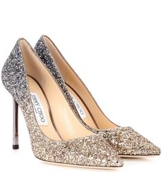 Jimmy Choo - Exclusive to mytheresa.com – Romy 100 glitter pumps - Jimmy Choo's Romy 100 pumps are crafted with a coating of sparkling glitter in an ombré effect from gold to anthracite for a luxe look. The pointed toe and slender, metallic heel provide a sharp finish to the dazzling pair. Use yours as an eye-catching finish to a neutral party dress. seen @ www.mytheresa.com