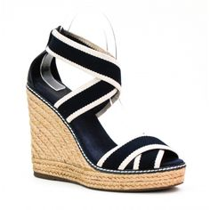 Tory Burch Navy Canvas Stripe Adonis Espadrille Wedges