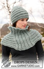 115-19 a - Knitted shoulder wrap in rib and garter st pattern