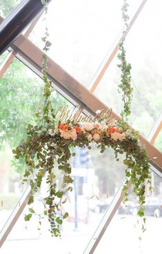 hanging ceremony decor, photo by SheWanders http://ruffledblog.com/modern-new-childrens-museum-wedding #weddingideas #weddingceremony