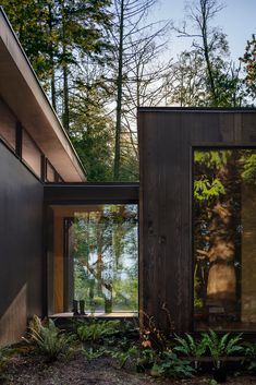 Pass Through Window, Architecture Design, Sustainable Architecture, Cedar Cabin, Interior Cladding, Clerestory Windows, Cedar Siding, Cabin In The Woods, Outdoor Retreat