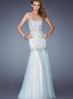 A-line Sky Blue Rhinestones Bodice Lace Long Formal Dress/ Prom Dress Evening Dress 20220