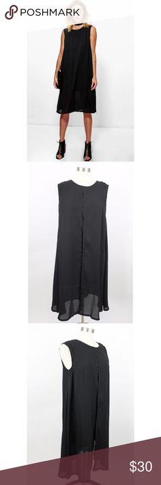"NWT Boohoo Black Natalie Split Front Midi Dress NWT Boohoo Black Natalie Split Front Midi Chiffon Swing Tent Dress.   Measurements (flat / un-stretched): Tagged Size: 10 Bust: 36"" Length (shoulder to hem): 41"" Boohoo Dresses"