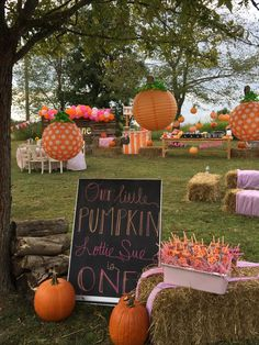 Pumpkin and pink party. First birthday party. Pumpkin party. Our little pumpkin is one. Fall party. For more: Instagram @ihavethecoolestgoatever