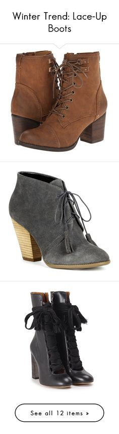 """""""Winter Trend: Lace-Up Boots"""" by polyvore-editorial ❤ liked on Polyvore featuring Laceupankleboots, shoes, boots, ankle booties, ankle boots, tan, madden girl booties, tan lace up booties, lace up high heel booties and lace up ankle boots"""