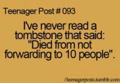 Bahahahaha! Next time I see one of those forwarding messages...