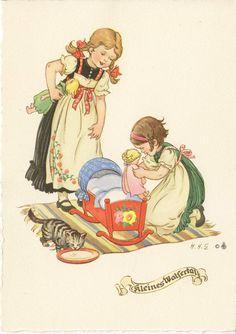 H. Helwig-Goerke - Mädchen mit Puppen und Wiege, blanco | eBay H.H.G.