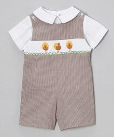 Love this White Top & Brown Turkey Shortalls - Infant & Toddler by Silly Goose on #zulily! #zulilyfinds