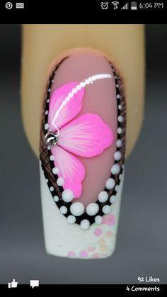 One stroke flower with gemstone