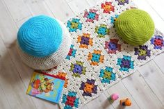 Crochet granny square rug and pillows http://www.etsy.com/listing/60574335/crochet-rug-granny-square?utm_source=bronto_medium=email_term=Image+-+http%3A%2F%2Fwww.etsy.com%2Flisting%2F60574335%2Fcrochet-rug-granny-square_content=etsy_finds_040712_campaign=etsy_finds_040712