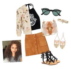 """Boho spring"" by emmatraynor on Polyvore featuring Rebecca Minkoff, Mystique, Needle & Thread, Chloé, Ray-Ban and Lucky Brand"