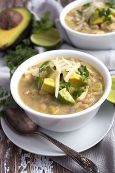 This creamy Mexican chicken chili soup recipe is a quick healthy dinner recipe and an easy pantry meal! Healthy Soup Recipes, Mexican Food Recipes, Real Food Recipes, Chicken Recipes, Lasagna Recipes, Frugal Recipes, Cod Recipes, Ramen Recipes, Cooking Recipes