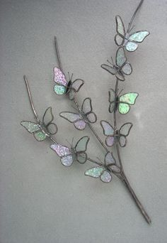 3D Butterfly Branch by Michele Hubble, Starlight Glassworks #StainedGlassButterfly #StainedGlassFeathers