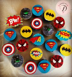 Superhero cupcakes by bakes by d cupcakes in 2019 день рожде Superhero Birthday Cake, Avengers Birthday, 4th Birthday, Superhero Party, Batman Party, Birthday Parties, Avenger Cupcakes, Avenger Cake, Themed Cupcakes