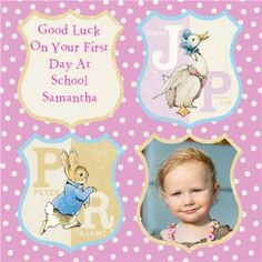 #BeatrixPotter inspired personalised card for your little one attending #school! #PeterRabbit