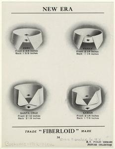 """Styles of """"Fiberloid"""" men's collars, c. 1910; Edwardian"""