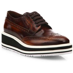 Prada Brogue Leather Micro Platform Oxfords ($895) ❤ liked on Polyvore featuring shoes, oxfords, apparel & accessories, leather wedge shoes, lace up oxfords, lace up shoes, wedge shoes and leather platform shoes