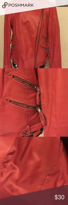 Make an offer! Red leather waist length jacket.. distressed in the sleeves look it over has a few scuffs on the inside of arm street legal Jackets & Coats Jean Jackets