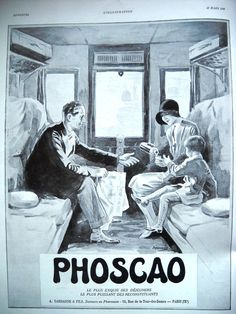Phoscao vintage advertising 1930, old magazine ads, original art deco ad, coffee poster A3, French magazine page for framing original poster