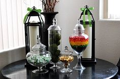 Love, LOVE these St. Patty's day ideas to fill the apothecary jars I have on my mantle during St. Patty's day!