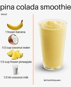 PINA COLADA SMOOTHIE By Bringing you pina coladas and getting caught in the rain straight from the comfort of your home! BLEND: 1 frozen banana cup frozen pineapple (or more if it suits you) tin coconut milk cup coconut water Fruit Smoothie Recipes, Easy Smoothies, Smoothie Diet, Breakfast Smoothies, Breakfast Healthy, Pina Colada Smoothie Recipe, Melon Smoothie, Coconut Milk Smoothie, Banana Recipes